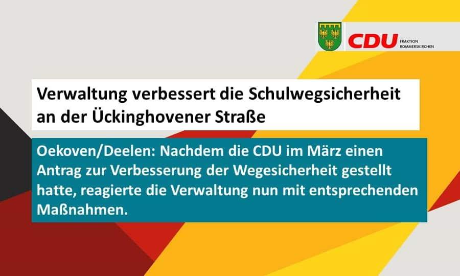 Nach CDU Antrag verbessert Verwaltung die Schulwegsicherheit an der Ückinghovener Straße